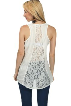 You got to love lace! The perfect thing about lace is that it looks great on EVERYONE. This tanktop is made of thin summerish material with a little see-through effect. And check out the beautiful back made of lace!  #clothing top #reedkhloe55 #shirt  www.2dayslook.com
