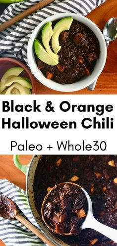 This easy chili recipe is a hearty, healthy beef chili with some extra special ingredients to make it perfect for Halloween! Orange sweet potato adds a bit of sweetness and black cocoa powder adds a dark smokiness. This no bean chili is full of flavor (make it as spicy as you like) and can be made in just 60 minutes! Slow cooker/crockpot and Instant Pot instructions included. And it's naturally Paleo and Whole30 friendly! Quick Chili Recipe, Chili Recipes, Lamb Recipes, Crockpot Recipes, Free Recipes, Paleo Whole 30, Whole 30 Recipes, Paleo Cornbread
