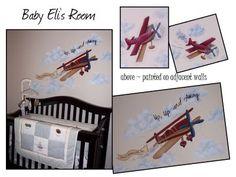 airplane baby room   Airplane Nursery Murals : Nursery Murals and More