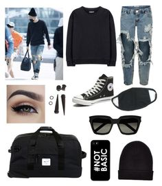 """Yoongi airport fashion inspired outfit❤️"" by bts4ever02 ❤ liked on Polyvore featuring One Teaspoon, adidas Originals, New Look, Converse, Herschel Supply Co. and Yves Saint Laurent"