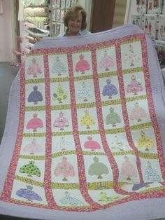 """Pretty Dresses Quilt ~ Adorable quilt made by my friend, Nancy Rumsey, for her sweet little Granddaughter.  The pattern is """"Pretty Dresses"""" by Black Mountain Quilts."""
