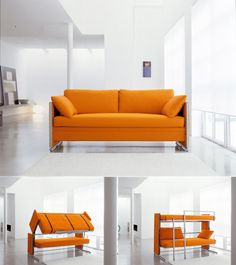 Couch Bunk Bed Transformer sofa becomes double-decker bunk bed | awesome, furniture and new york