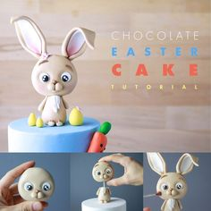 TUTORIAL - How to make a chocolate bunny cake topper for an Easter Cake. Step by step tutorial TUTORIAL - How to make a chocolate bunny cake topper for an Easter Cake. Step by step tutorial Easter Cake Fondant, Easter Cake Toppers, Easter Bunny Cake, Fondant Cake Toppers, Bunny Birthday, Bunny Cakes, Baby Cake Topper, Fondant Cupcakes, Cupcake Toppers