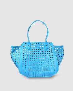 Bolso de hombro en azul con troquelado