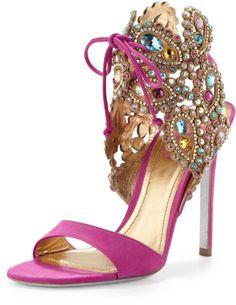 RENE CAOVILLA Purple Embellished Highheel Ankletie Sandal Fuchsia