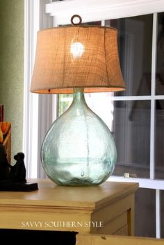 Easy DIY Lamp, uses for all those demijohns. I love this!