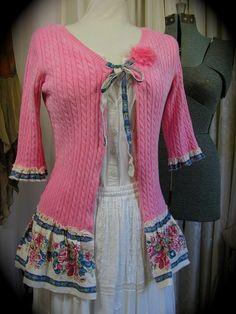 Pink Shabby Sweater, frayed upcycled clothing, refashioned altered tattered ruffled hem
