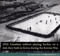 Canadian soldiers playing hockey on a rink they built in Korea during the Korean War. Canadian Memes, Canadian Things, Canadian History, Canada Funny, Canada Eh, Canada Humor, Meanwhile In Canada, Canadian Soldiers, Rare Historical Photos