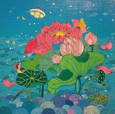 The Lotus Flowers Painting. Korean Crafts, Korean Painting, Lotus Flowers, Thai Art, Korean Art, Japan Art, Art Images, Art Inspo, Art Reference