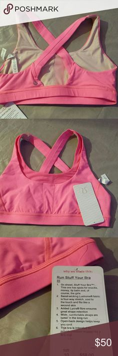NWT Lululemon Run Stuff Your Bra III This bra is amazing has spots for snacks, money,  lip balm, and,  of course, the girls ;) Size 10 Colour Pink lululemon athletica Intimates & Sleepwear Bras