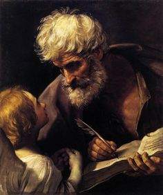 St Matthew and the Angel, - Guido Reni - Baroque. - Guido Reni was an Italian painter of high-Baroque style. Rembrandt, Baroque Painting, Baroque Art, Italian Baroque, Georg Gänswein, Renaissance Kunst, Saint Matthew, St Mathew, Matthew 2