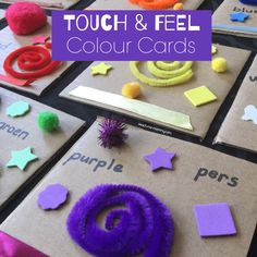 Touch & Feel Colour Cards - Teach Me Mommy Toddler Learning Activities, Color Activities, Preschool Activities, Kids Learning, Preschool Classroom, Learning Cards, Learning Letters, Toddler Play, Toddler Crafts