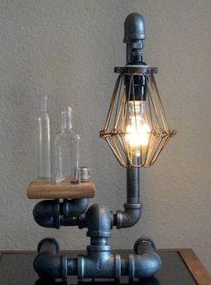 Industrial Art Desk Table Black Iron Lamp with by Splinterwerx, $180.00: