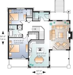 level 2 storey, 4 bedroom chalet with covered porch on 2 levels and garage - Gordon Best House Plans, House Floor Plans, Plan Garage, Plan Chalet, Drummond House Plans, Cottage Plan, Cottage Ideas, Traditional House Plans, Build Your Dream Home
