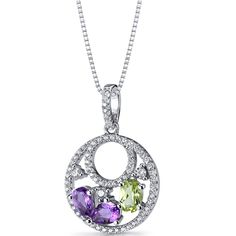 Sterling Silver Double hoop Amethyst and Peridot Drop Pendant Necklace