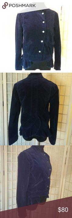 Selling this Free People blue velvet cropped military jacket on Poshmark! My username is: teacherrabbit44. #shopmycloset #poshmark #fashion #shopping #style #forsale #Free People #Jackets & Blazers