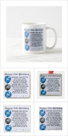 Brother Poems, Gifts For Brother, Happy 50th Birthday, Detail Shop, Holiday Photos, Business Supplies, Mugs, Tableware, Holiday Pictures