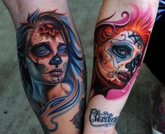 sugar skull tattoo for women...i SOOO very much want my 2 daughters pics inked on my arms in tbese sugar skull tatts! ♥♡