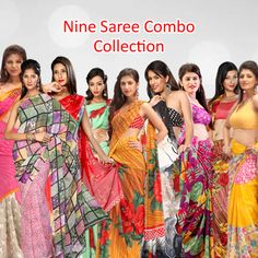 Queen saree 9 Stylish Designer Sarees Combo Collection From Teleshop .