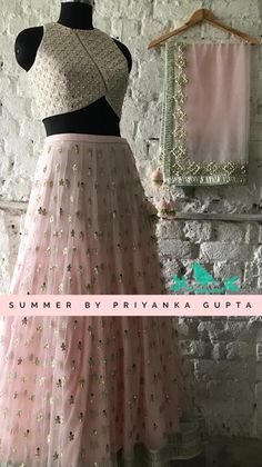 Stunning blush pink color lehenga and gold sequence crop top with net dupatta. Lehenga and blouse with hand embroidery work all over. New summer Lehengas now at stores! Gold Lehenga, Bridal Lehenga Choli, Black Lehenga, Net Lehenga, Indian Dresses, Indian Outfits, Lehnga Dress, Party Wear Lehenga, Lehenga Designs