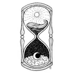 ⌛️- ☀️day and night - #art #ink #fineliner #blackandwhite #drawing #inkart #tattoo #illustration #iblackwork #thedotworkers #arts_help #arts_collective #hourglass #day #night #dayandnight #sea #sun #moon #time