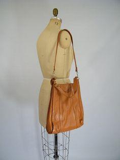 Vintage 1970s Honey Brown Purse / Long and Short Straps / Shoulder Bag