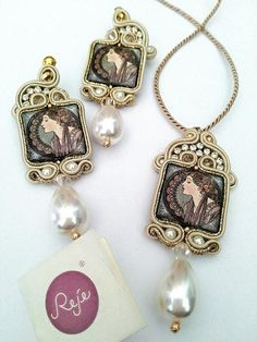 Soutache set orecchini ciondolo Soutache Beige oro in