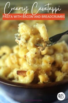 Make fancy mac and cheese with this Cavatappi Pasta recipe! Topped with bacon and breadcrumbs, and SO creamy! #cavatappia #corkscrewpasta #macandcheese Yummy Pasta Recipes, Side Dish Recipes, Crockpot Recipes, Yummy Food, Weeknight Recipes, Cheesy Recipes, Rice Recipes, Delicious Recipes, Easy Desserts