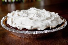 Chocolate Pudding Pie - Add chocolate sprinkles or shaved chocolate to the top and maybe sliced strawberries around the edges.