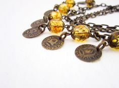Amber Necklace Czech crystal bronze chain metal by JewelryNeshElly, $15.00