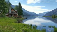 Cabin on the lake Pictures Of America, Picture Blog, Mountain Living, H & M Home, Lake Cabins, Vintage Farm, Lake View, Scenery, Landscape