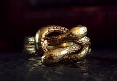 1890-1900s Snake/Serpent Knot Ring, 14K Gold, Size 7, $515