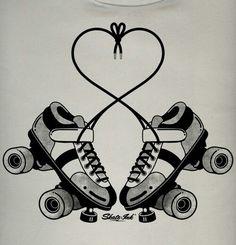 roller skates for roller derby Roller Derby Skates, Roller Derby Girls, Quad Skates, Roller Skating Pictures, Track Roller, Skate Art, Skating Rink, Drawings, Tattoos