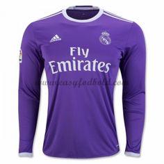 Fodboldtrøjer La Liga Real Madrid 2016-17 Udebanetrøje Langærmede Camisetas  De Fútbol 517446de70660