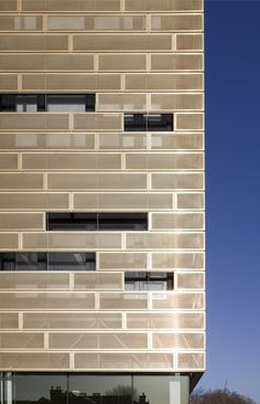 Perforated Metal  Tidemill Academy and Deptford Lounge by Pollard Thomas Edwards Architects- imitate bricks