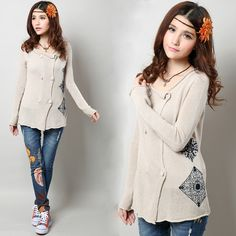 Chinese Style Cost/ Jacket - Modern Chinese Style Clothing: Beige Knit Top $53.35 (40,12 €)