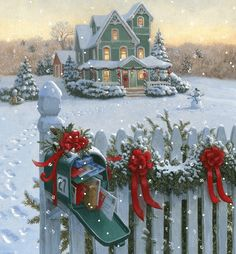 Christmas mail in post box, House and footprints in snow                                                                                                                                                                                 Mais