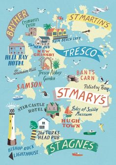 A 1 Week Travel Itinerary For Visiting The Isles Of Scilly – The UK's Tropical Islands Isles of Scilly map by Anna Simmons Travel Maps, Travel Posters, Travel Destinations, Devon And Cornwall, Cornwall England, Cornwall Map, West Cornwall, Tresco Abbey Gardens, Scilly Island