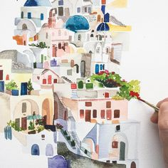 "Painted cities- Yao Cheng (@yaochengdesign) on Instagram: ""Oh Santorini, I'm daydreaming now about my next vacation #workinprogress #watercolorlandscape…"""