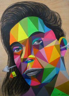 creations of Okuda Graffiti Murals, Street Art Graffiti, Mural Art, Land Art, Badass Pictures, Okuda, Paper Collage Art, Arte Popular, Street Artists