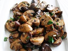 Roasted mushrooms with balsamic, garlic, and herbs.