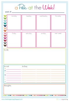 Free Printables :) love it I've 'whiteout' headings and I'm using it as school term planner with important phone no.s :)