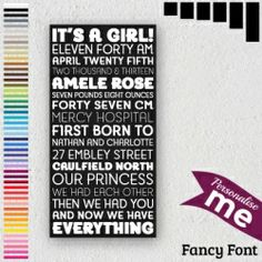 Fancy Font Personalised Canvases