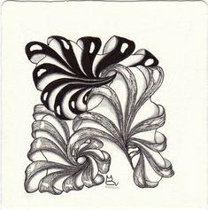 """Ein Monotangle für die Aktion """"Schattier-Tier"""" mit dem Zentangle®-Muster Aquafleur, gezeichnet von Ela Rieger, CZT, präsentiert im ElaToRium Zentangle Drawings, Doodles Zentangles, Zentangle Patterns, Toilet Roll Craft, Zen Doodle, Henna Art, String Art, Tangled, Zen Tangles"""