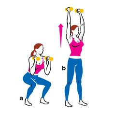Hold a pair of dumbbells at shoulder height with your elbows bent and feet hip-width apart. Keeping your chest upright, bend your knees and lower until your thighs are at least parallel to the floor (a). As you stand, press the weights overhead until your arms are straight (b). Return to start. That's one rep.
