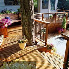 Clear Cedar Curving Deck ,Lake Oswego,Oregon Built and Design John Breiling