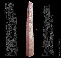 """""""Obélisque"""" de Tello, Chavin de Huantar, 2,42m. Musée d'Archéologie, Lima. Relevés graphiques des crocodiles représentés sur chacune des faces de la stèle."""
