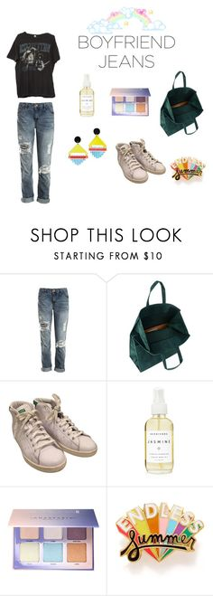 """BoyfriendJeans17"" by diamonds-guns ❤ liked on Polyvore featuring Sans Souci, Brandy Melville, Maison Margiela, adidas, A Weathered Penny, Anastasia Beverly Hills, ban.do, Toolally and boyfriendjeans"