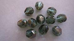 6mm DEEP GREEN CELSIAN Czech Faceted Glass Beads by GlassBeadLover, $2.30