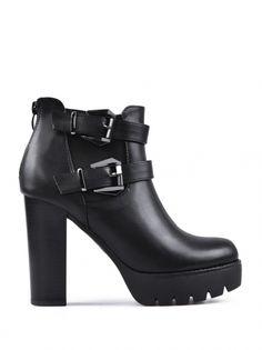 Dámské boty na podpatku pro každodenní nošení TENDENZ - černá